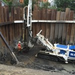 Drilling being carried out in new basement construction